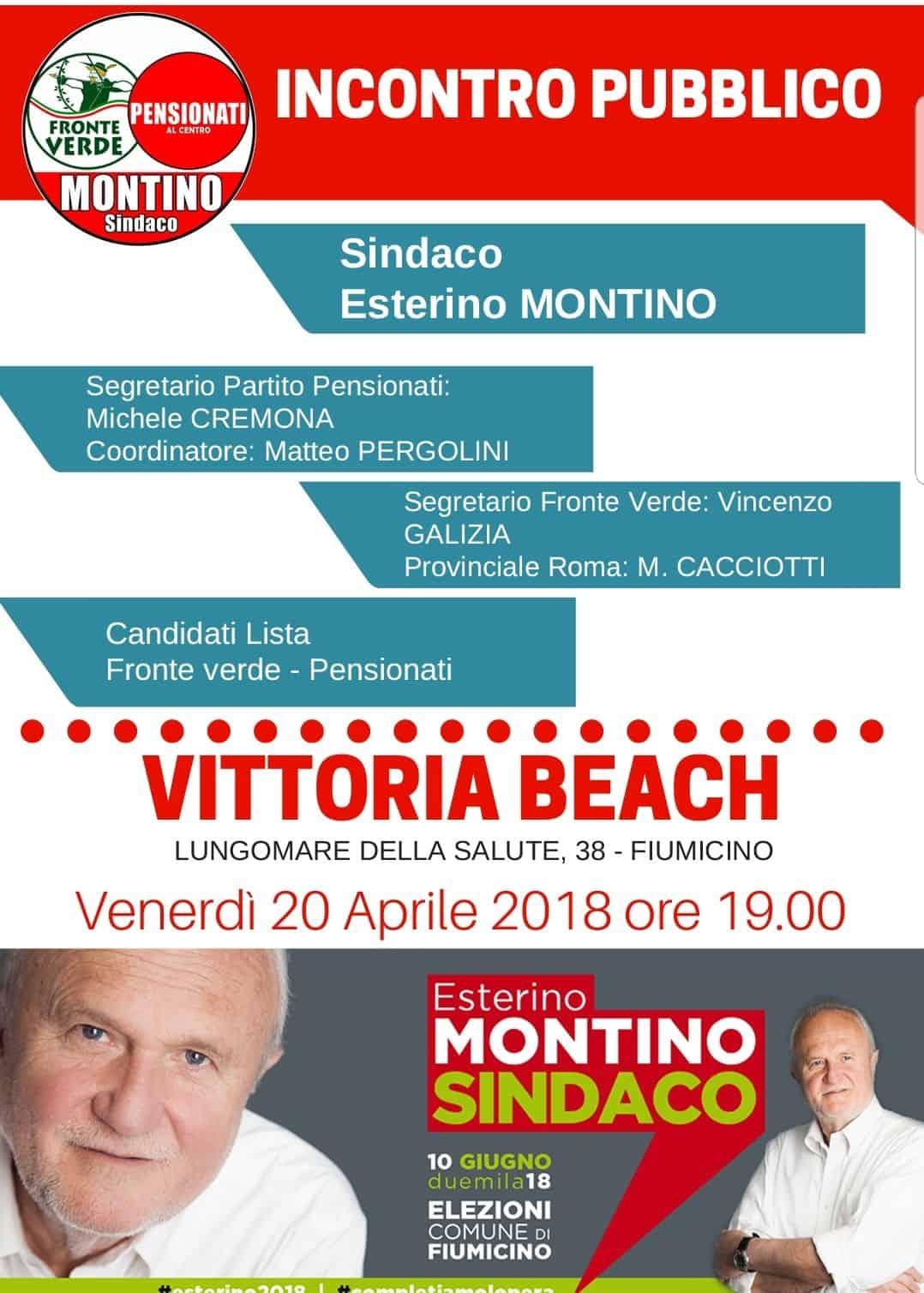 """Comunali Fiumicino, Montino: """"Fronte Verde-Pensionati presentata la lista"""""""