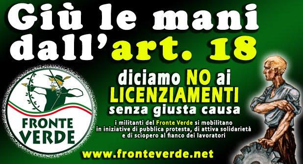 """Fronte Verde: """"giù le mani dall'art.18"""""""