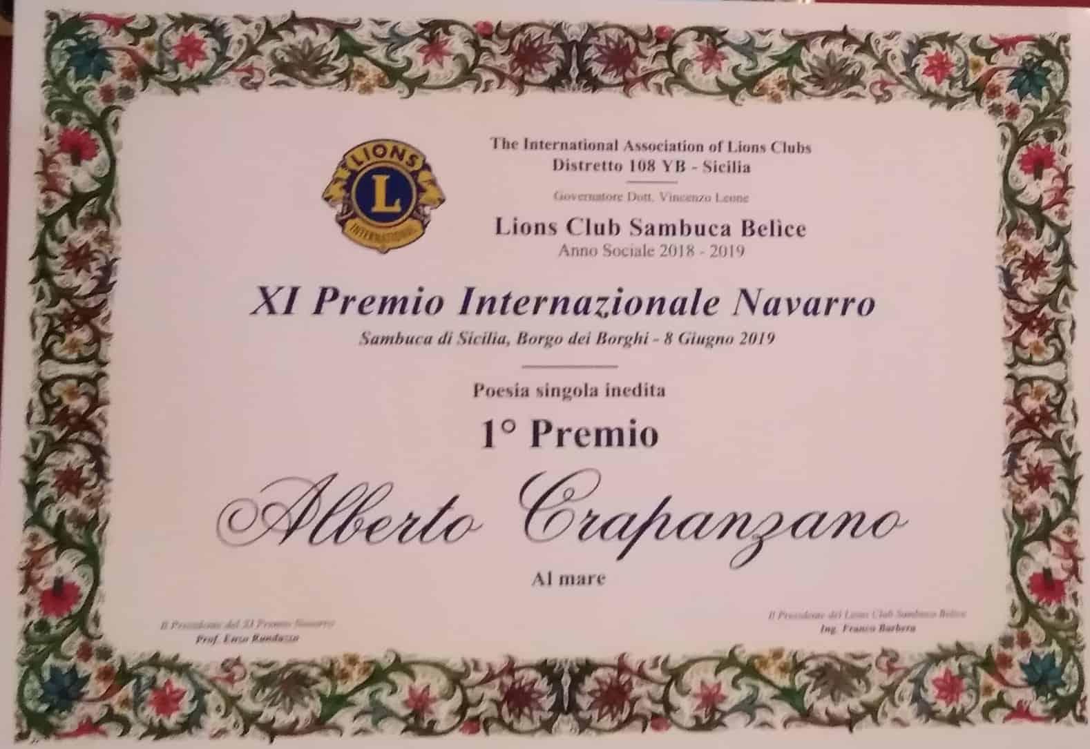 XI premio Internazionale Navarro 2019. Primo premio al nostro Alberto Crapanzano
