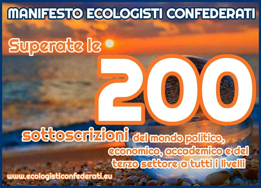 Ecologisti Confederati, superate le 200 sottoscrizioni al Manifesto