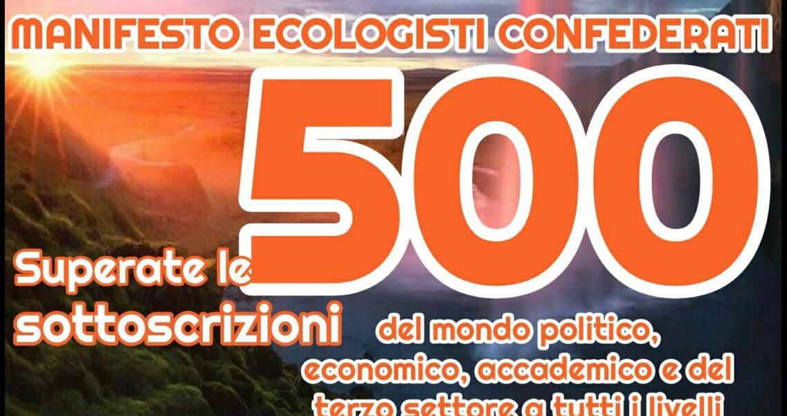 Manifesto Ecologisti Confederati superate le 500 sottoscrizioni